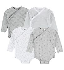 Pippi Wrap Bodysuit - 4-Pack - White/Grey w. Print
