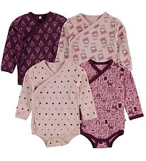 Pippi Wrap Bodysuit - 4-Pack - Dark Purple/Rose w. Print