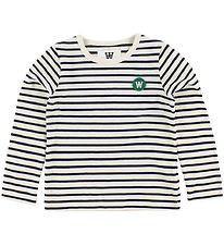 Wood Wood Kids Blouse - Ivory/Navy Striped