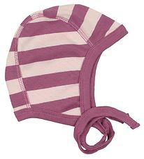 Katvig Classic Baby Hat - Light Rose/Purple Striped
