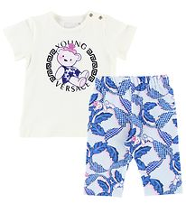 Young Versace T-shirt w. Leggings - White/Blue/Pink