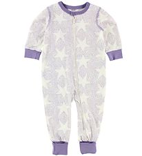 Joha Night Suit - Ivory/Purple w. Stars