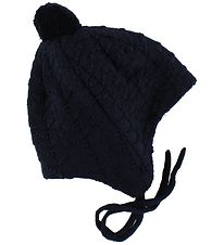 Reima Baby Hat w. Pom-Pom - Wool/Cotton - Lintu - Navy