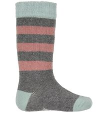 Small Rags Socks - Grace - Grey Melange Striped w. Glitter