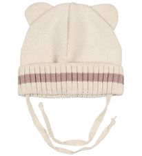 Huttelihut Hat w. Ears - Knitted - Minnie - Ivory