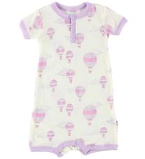 Joha Summer Romper - Wool - Ivory/Purple w. Air Balloons