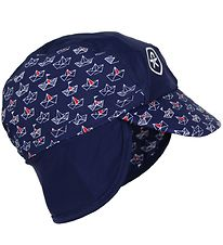 Color Kids Sun Hat - Nadam - Navy w. Ships