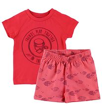 Color Kids Shorts Set - Naung - Red/Coral w. Fish