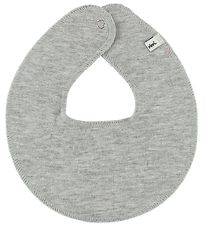Pippi Teething Bib - Round - Grey Melange