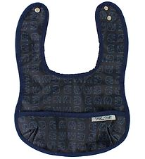 Smallstuff Bib w. Food Catcher - Navy w. Elephants