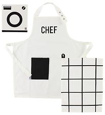 Design Letters Apron & Dishtowel - Black/White