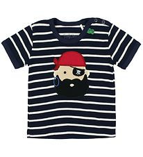 Freds World T-shirt - Navy Striped w. Pirate