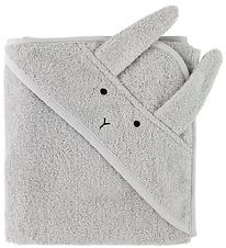 Liewood Hooded Towel - 70x70 - Albert - Grey Rabbit