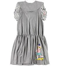 Fendi Kids Dress - Grey Melange w. Ruffles/Fendirumi
