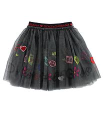 Dolce & Gabbana Tulle Skirt - Dark Grey w. Print/Patches