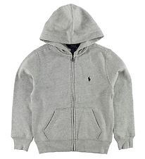 Polo Ralph Lauren Zip Thru Hoodie - Sweat - Grey Melange w. Logo