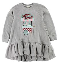 Fendi Kids Dress - Sweat - Grey Melange w. Glitter Print