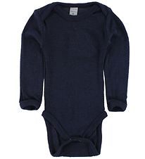 Smallstuff Bodysuit L/S - Wool - Navy w. Elephants