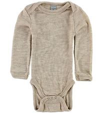 Smallstuff Bodysuit l/s - Wool - Sand/Elephants