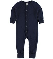 Smallstuff Night Suit - Wool - Navy w. Elephants