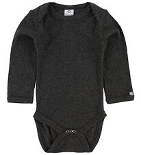 Smallstuff Bodysuit L/S - Charcoal Melange w. Elephants