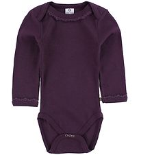 Smallstuff Bodysuit L/S - Plum w. Pointelle/Lace