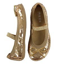 Move By Melton Ballerina Shoes - Gold Glitter