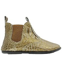 En Fant Soft Sole Leather Shoes - Gold w. Snakeskin