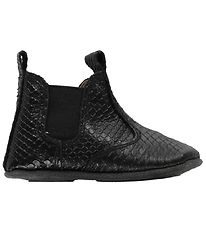 En Fant Soft Sole Leather Shoes - Black w. Snakeskin