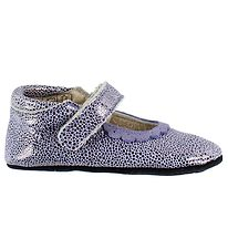 En Fant Ballerina Slippers - Dusty Purple w. Dots/Velcro
