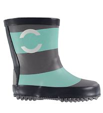 Mikk-Line Rubber Boots - Aqua Green/Grey Striped