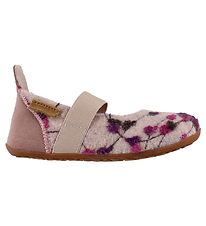 Bisgaard Ballerina Slippers - Wool - Rose w. Flowers