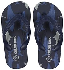 Color Kids Flip Flops - Nemo - Navy w. Sharks