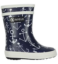 Aigle Rubber Boots - Baby Flac Kid - Navy w. Anchor