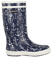 Aigle Rubber Boots - Lolly Pop Kid - Navy w. Anchor