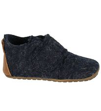 Pom Pom Slippers - Wool - Navy