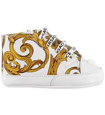 Young Versace Slippers - White/Gold Pattern