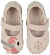 Living Kitzbühel Ballerina Slippers - Wool - Powder w. Flamingo