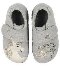 Living Kitzbühel Slippers - Wool - Grey/Glitter w. Unicorn