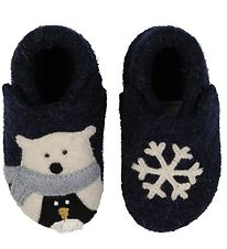 Living Kitzbühel Slippers - Navy w. Polar Bear