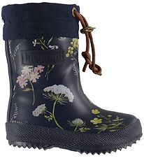 Bisgaard Thermo Boots - Navy w. Flowers/Laces
