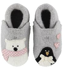 Living Kitzbühel Slippers - Wool - Light Grey w. Polar bear/Peng