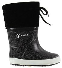 Aigle Thermo Boots - Velour - Giboulee Print - Noir Glitter