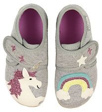 Living Kitzbühel Slippers - Melange Grey w. Rainbow/Unicorn