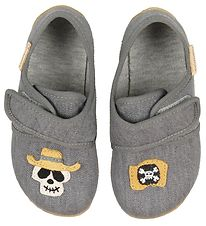 Living Kitzbühel Slippers - Grey w. Skull/Pirate Flag