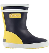 Aigle Rubber Boots - Baby Flac - Navy/Yellow