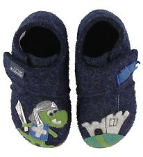 Living Kitzbühel Slippers - Wool - Navy w. Dragon/Knight