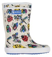 Aigle Rubber Boots - Lolly Pop - White w. Insects