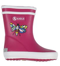 Aigle Rubber Boots - Baby Flac - Fuchsia w. Butterfly