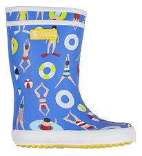 Aigle Rubber Boots - Lolly Pop - Blue w. Swimmers